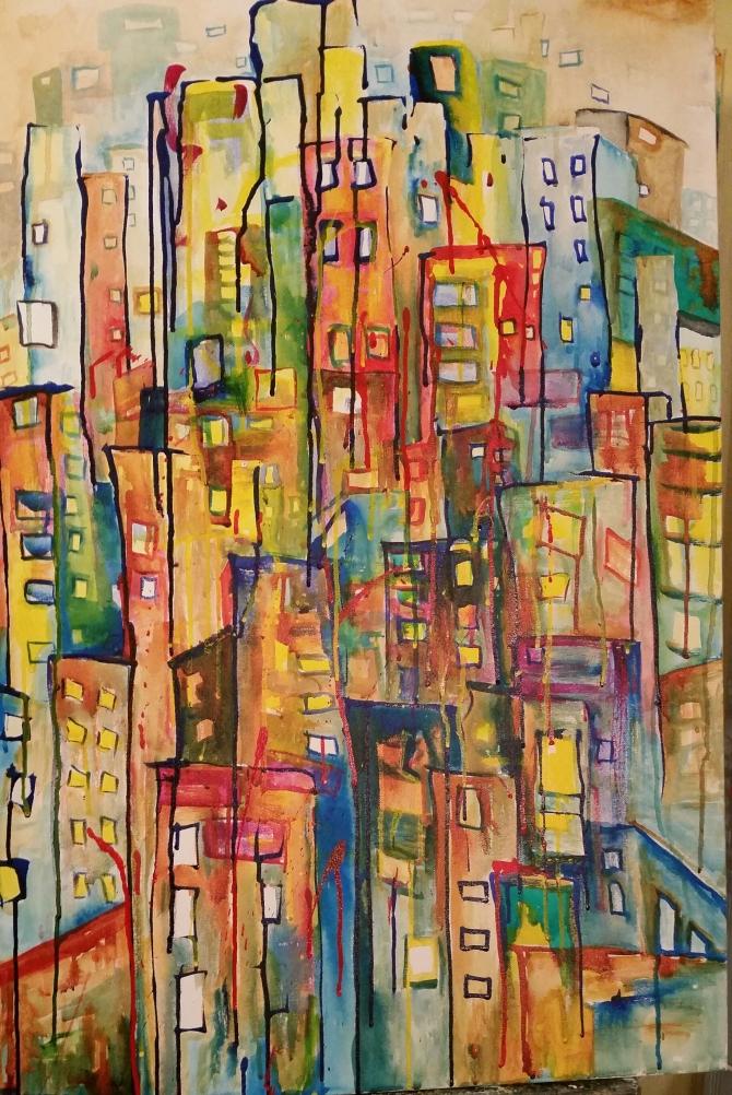 """Jersey Miasma."" Catharsis Jones 24""x36"" Acrylic on Canvas"