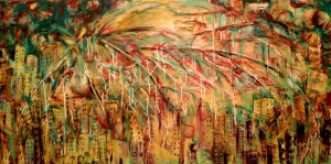 "Fallujah 24 x 48"" Oil on canvas By Cat Jones"