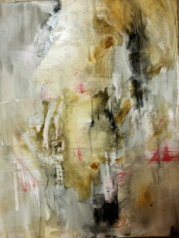 """Untitled Abstract. 18 x 24"""". Oil, acrylic, gesso, and ink on canvas. By Cat Jones"""